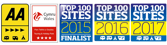 AA 4 Pennant, Cymru Wales 4 Star Touring and Holiday Park, Top 100 Sites Finalist 2015