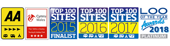 AA 5 Pennant, Cymru Wales 5 Star Touring and Holiday Park, Top 100 Sites Finalist 2015, Loo of the Year Awards 2018
